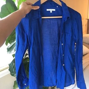 Foxcroft 100% Linen Royal Blue Top